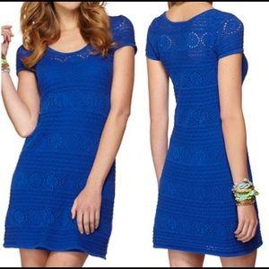 Lilly Pulitzer Blue Paulette Crochet Dress XS